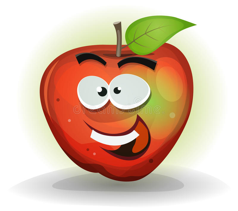 Grappig Apple-Fruitkarakter vector illustratie