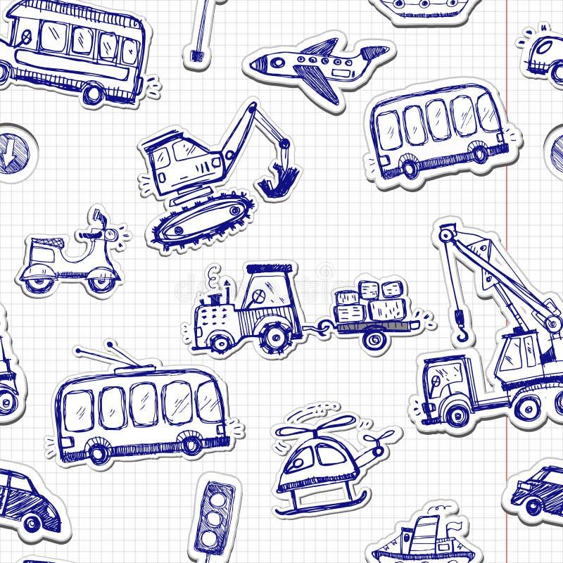 Grappig auto's naadloos patroon Krabbelschets geïnkte illustratie stock illustratie