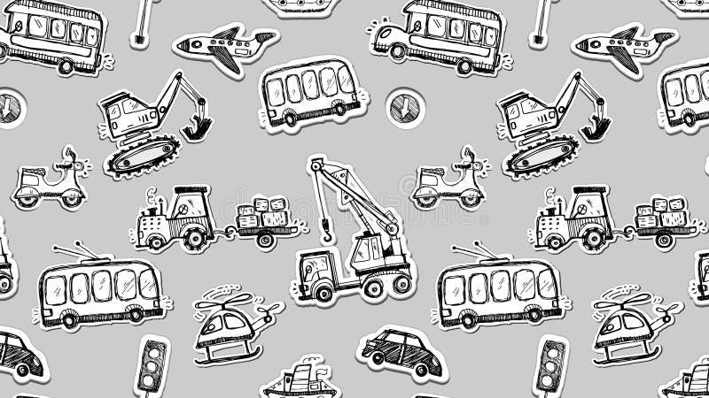 Grappig auto's naadloos patroon Krabbelschets geïnkte illustratie vector illustratie