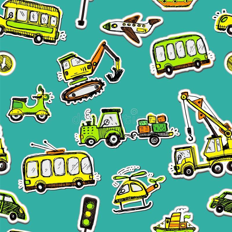 Grappig auto's naadloos patroon Krabbelschets geïnkte illustratie royalty-vrije illustratie