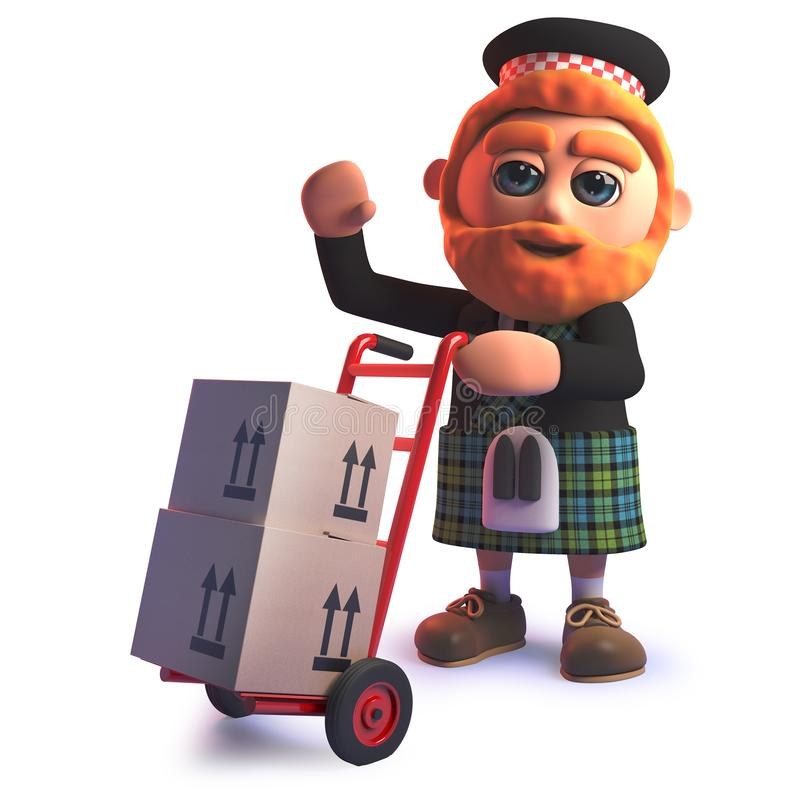 Grappig beeldverhaal 3d Schot in kilt die kartondozen op een stootkar leveren stock illustratie