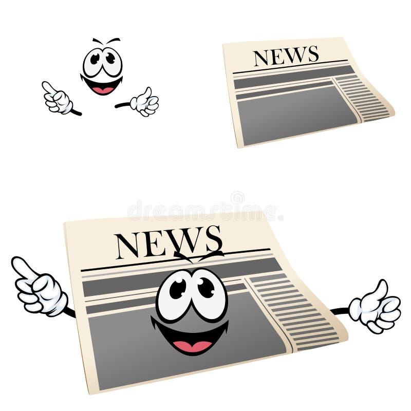 Grappig beeldverhaal geïsoleerd krantenkarakter vector illustratie