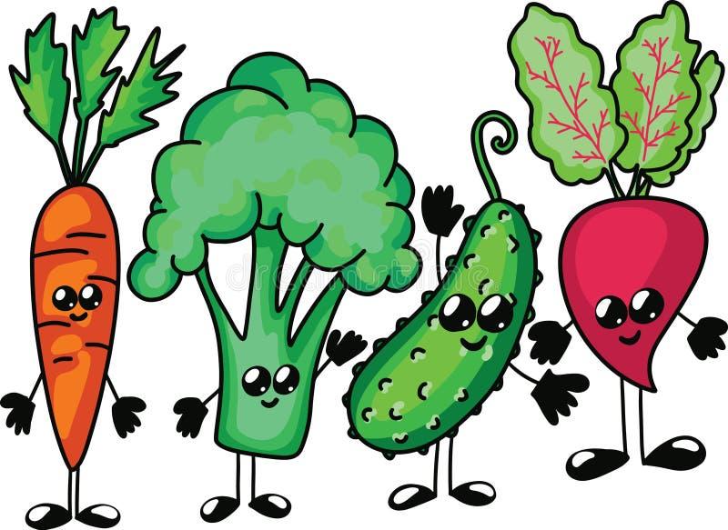 Grappig beeldverhaal plantaardig karakter Vector Geïsoleerdj op witte achtergrond Reeks van de komkommerbiet van wortelbroccoli royalty-vrije illustratie