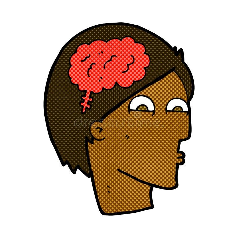 grappig beeldverhaalhoofd met hersenensymbool stock illustratie