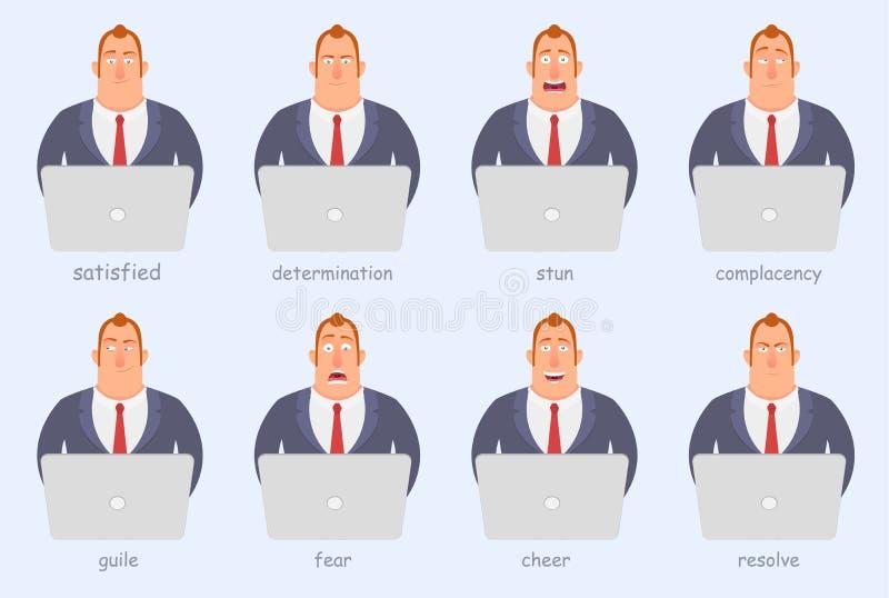 Grappig beeldverhaalkarakter Beambten van verschillende emoties, woede, vreugde, ernst, vrees, pret royalty-vrije illustratie