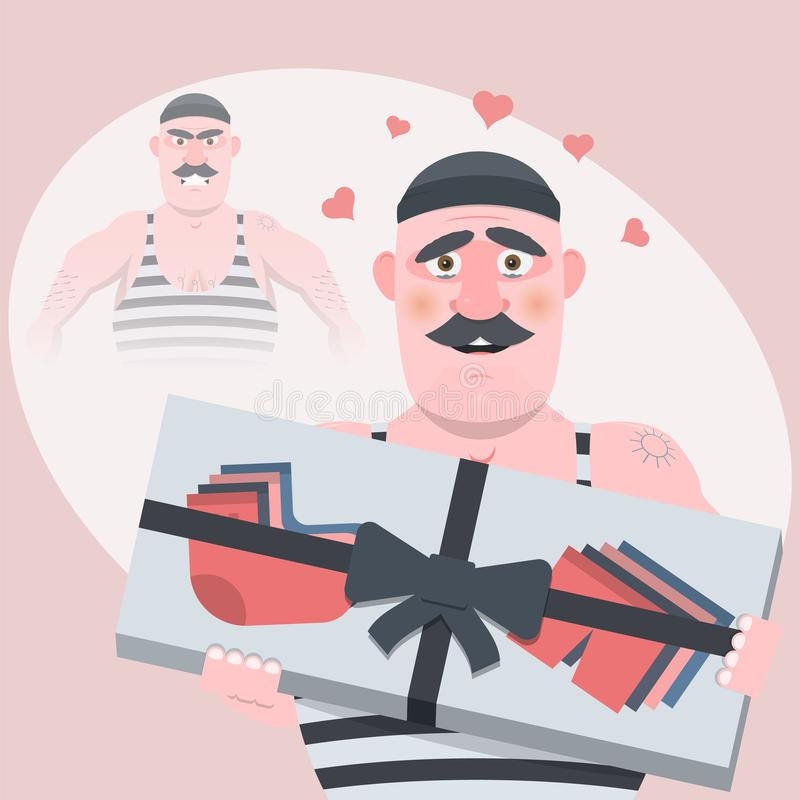 Grappig beeldverhaalkarakter Zonder een gift was kwaad, met een giftsoort, rust en in liefde Vector illustratie stock illustratie