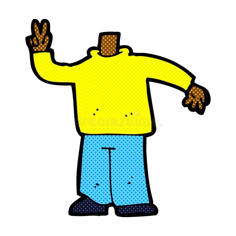 grappig beeldverhaallichaam die vredesteken geven (mengeling en gelijke grappige cartoo royalty-vrije illustratie