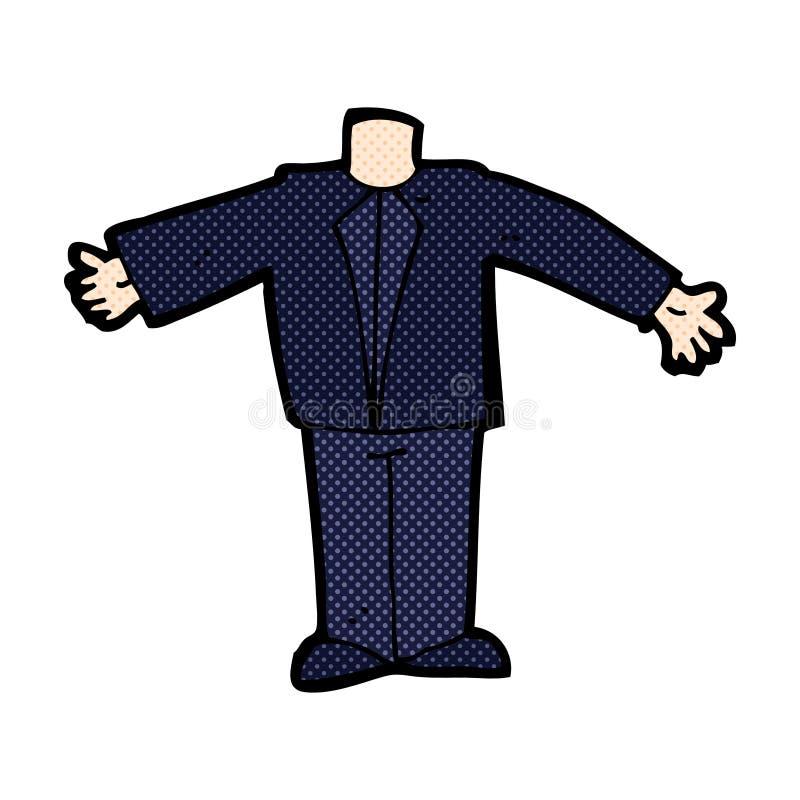 grappig beeldverhaallichaam in kostuum (mengeling en gelijke voegen de grappige beeldverhalen of toe vector illustratie