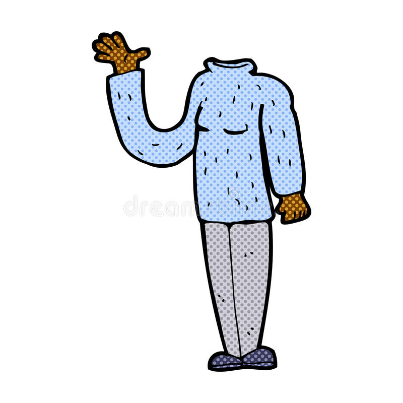 grappig beeldverhaallichaam zonder hoofd (mengeling en gelijke voegen de grappige beeldverhalen of toe stock illustratie