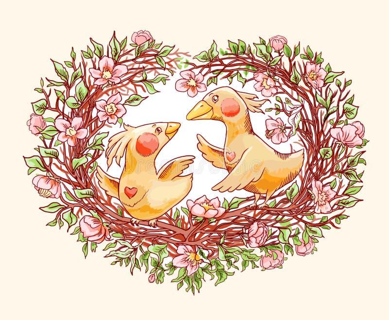 Grappig beeldverhaalpaar van vogels op overladen tak van het bloeien sakura Vector hand-drawn illustratie royalty-vrije illustratie
