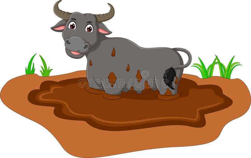 Grappig bufallobeeldverhaal die zich op modder bevinden stock illustratie