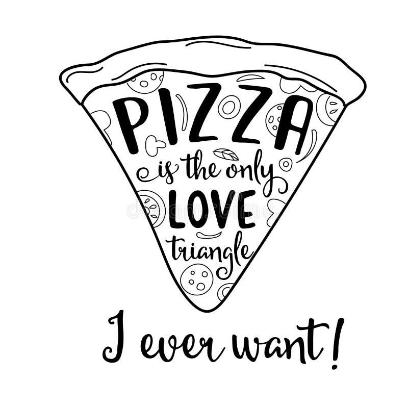 Grappig citaat over liefde en pizza stock illustratie
