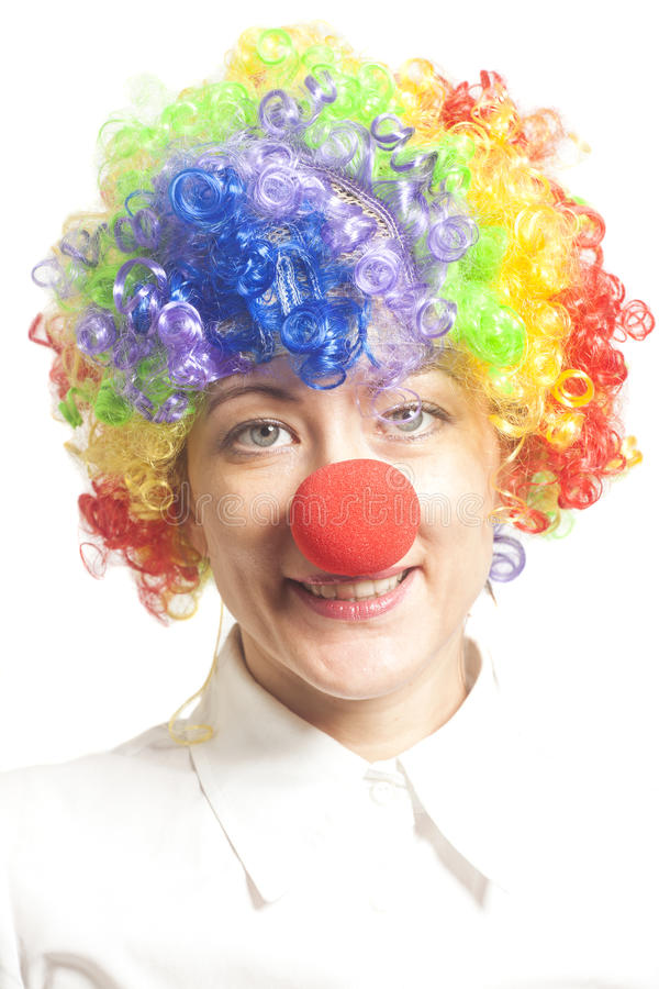 Grappig clownmeisje, wijfje royalty-vrije stock fotografie
