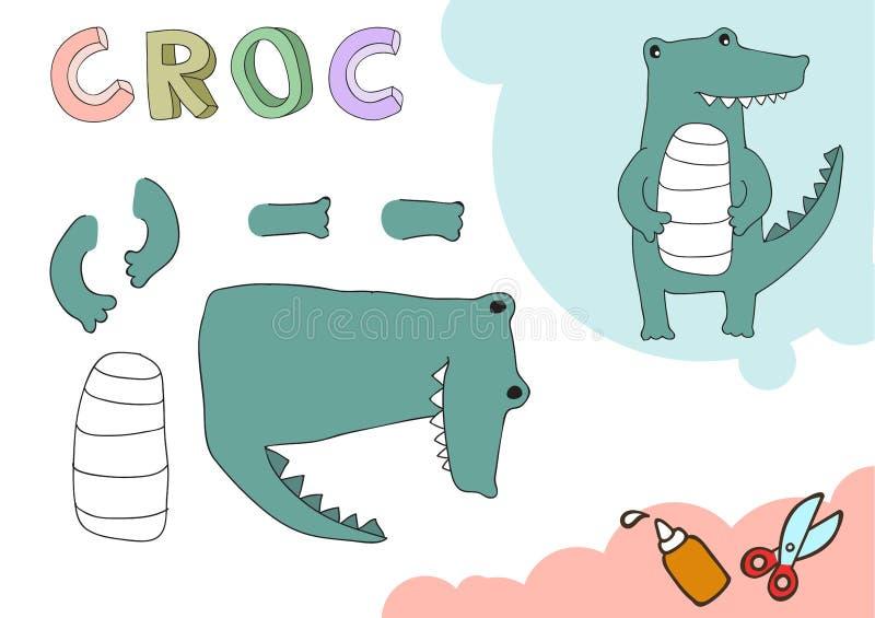Grappig Croc-Document Model Het kleine project van de huisambacht, DIY-document spel Verwijderd en lijm Knipsels voor kinderen Ve royalty-vrije illustratie