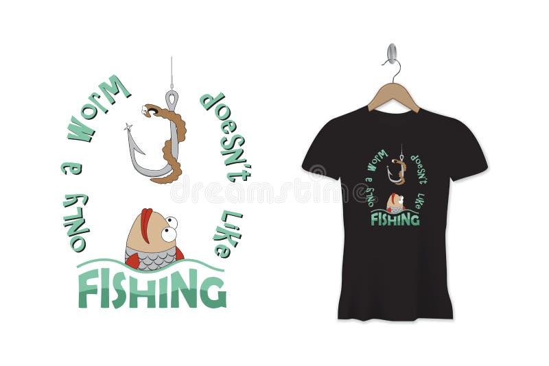 Grappig de druk of de stickerontwerp van de visserijt-shirt Vector Malplaatje vector illustratie