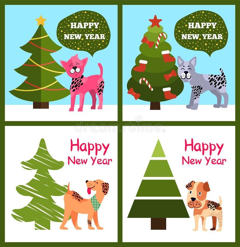 Grappig de Wensen Gelukkig Nieuwjaar van Beeldverhaalhonden in Bel vector illustratie