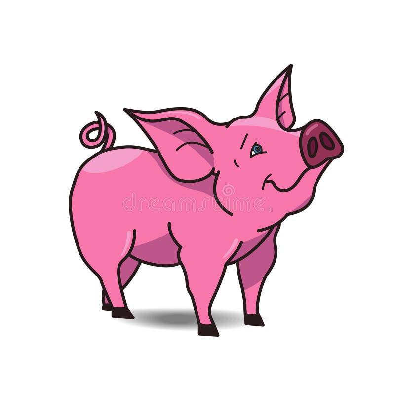 Grappig die varkenspictogram op witte achtergrond wordt geïsoleerd stock illustratie