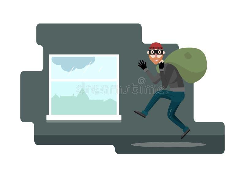Grappig diefkarakter Vector illustratie Bandiet met zak De rover in het masker komt uit door het venster stock afbeelding