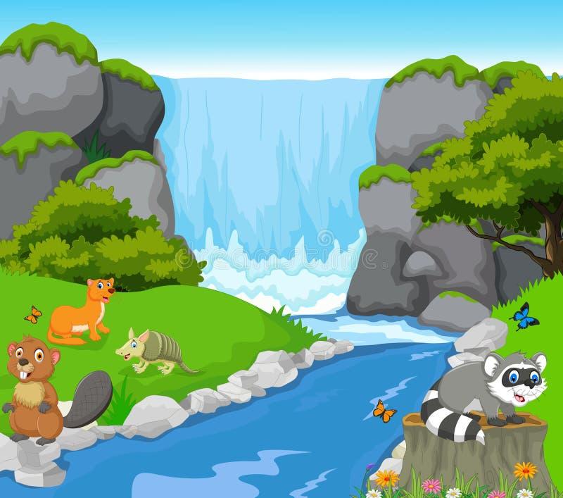 Grappig dier met de achtergrond van het watervallandschap royalty-vrije illustratie