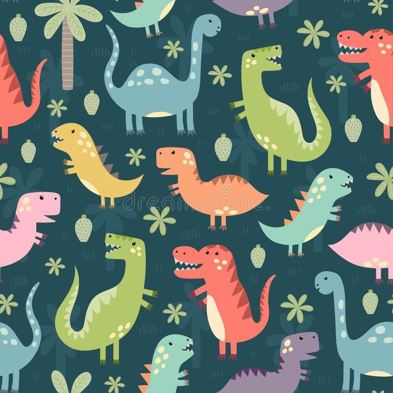 Grappig dinosaurussen naadloos patroon royalty-vrije illustratie