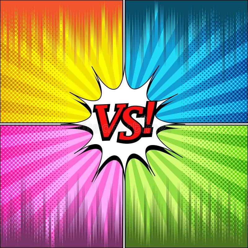 Grappig duel en strijdmalplaatje vector illustratie