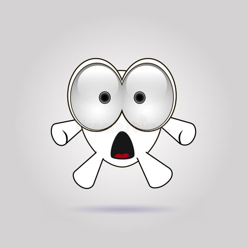 Grappig emoticonembleem: verrast, verbaasd, verbaasd, duizelig maakte, geschokte emoties r vector illustratie