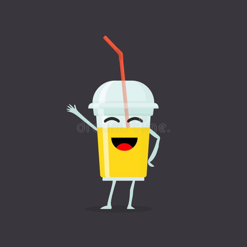 Grappig en leuk die Sap smoothie karakter op donkere achtergrond wordt geïsoleerd Sap met het glimlachen menselijk gezicht Het me stock illustratie