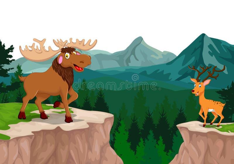 Grappig everzwijn en hertenbeeldverhaal in bos met bergachtergrond vector illustratie