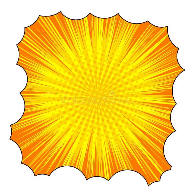 Grappig explosief oranje malplaatje stock illustratie