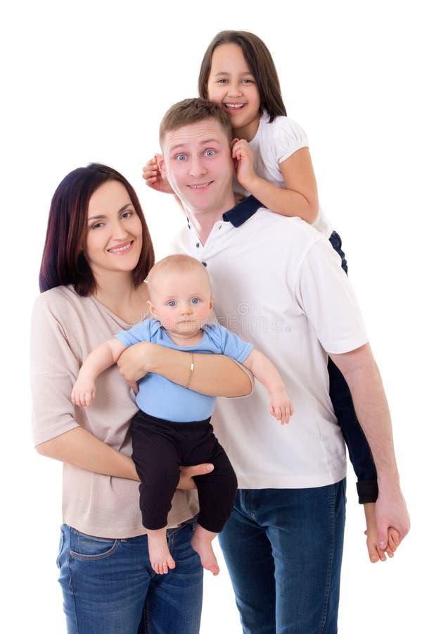 Grappig familieportret - de vader, de moeder, de dochter en de zoon isoleren royalty-vrije stock afbeeldingen