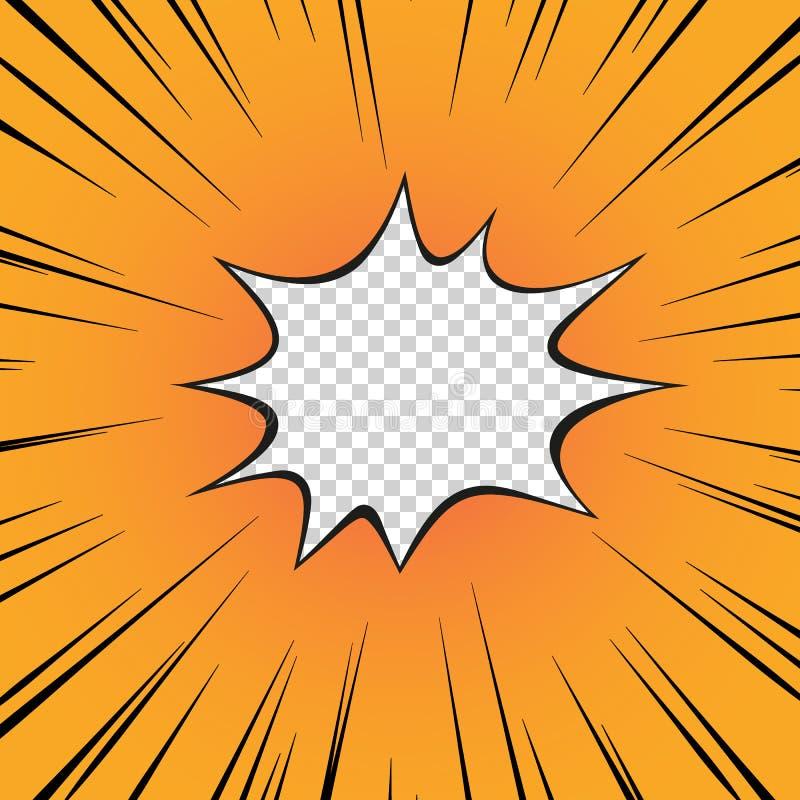 Grappig geel boek De flits van de explosie, de radiale lijn op de transparante geïsoleerde achtergrond superhero Vector royalty-vrije illustratie