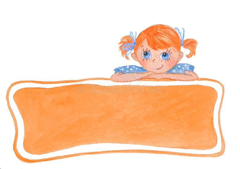 Grappig glimlachend meisje met bogen Oranje Banner vector illustratie