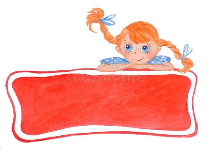 Grappig glimlachend meisje met bogen Rode banner vector illustratie