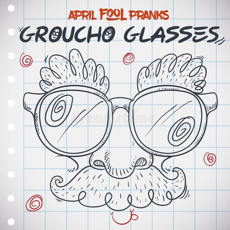 Grappig Groucho Glasses de Dag voor van April Fools ' in Krabbelstijl, Vectorillustratie vector illustratie