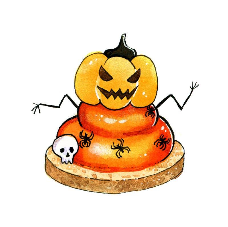 Grappig Halloween cupcake met spinnen en pompoen royalty-vrije illustratie