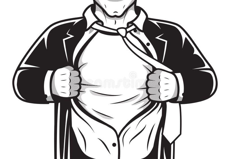 Grappig held het openen overhemd royalty-vrije illustratie