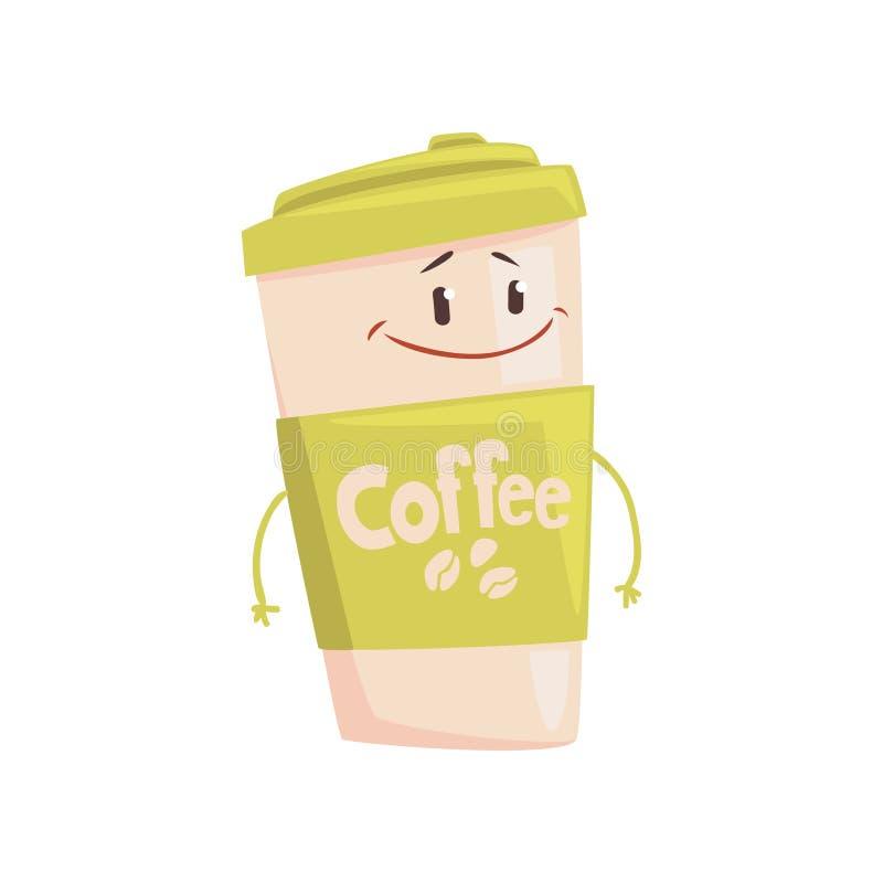 Grappig het beeldverhaalkarakter van de koffiekop, element voor menu van koffie, restaurant, jonge geitjesvoedsel, vectorillustra vector illustratie