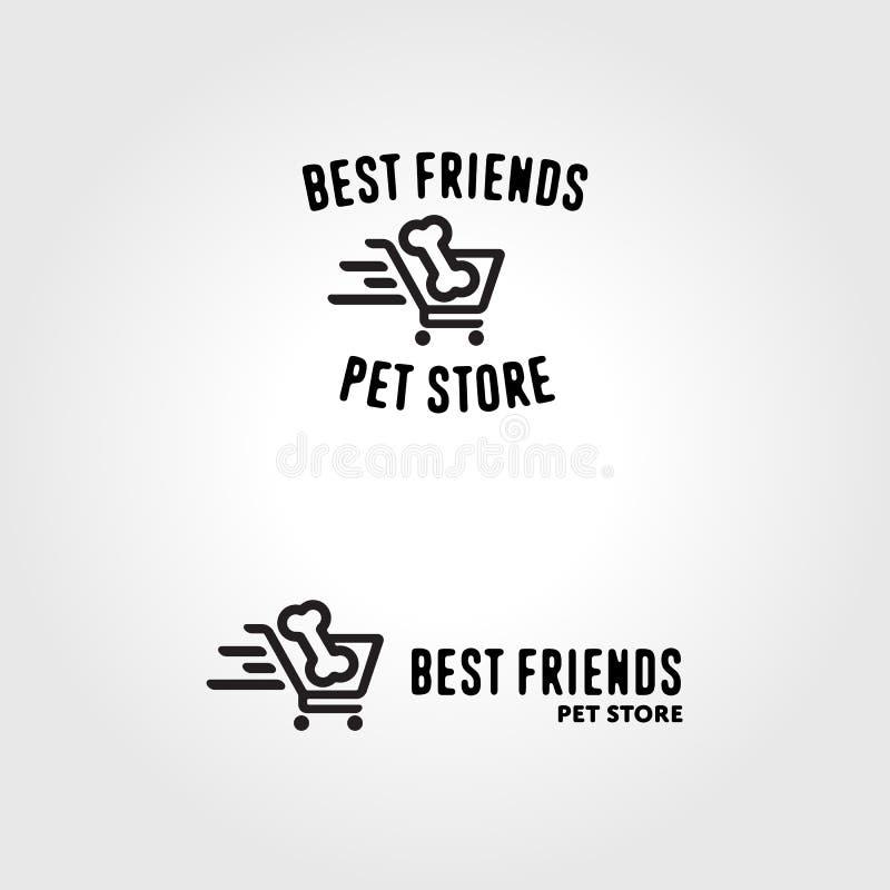 Grappig het embleemmalplaatje van de huisdierenopslag vector illustratie