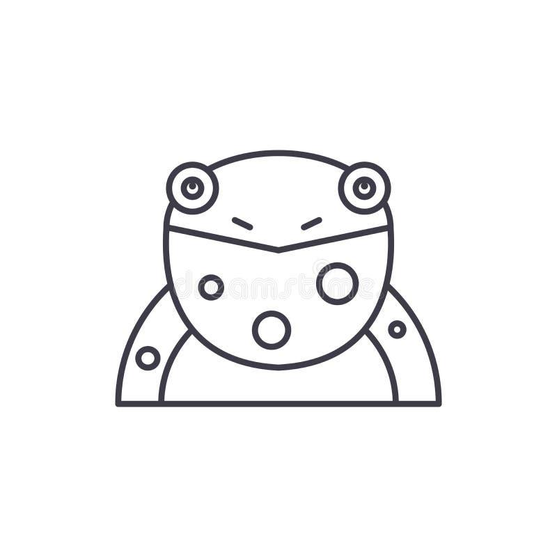 Grappig het pictogramconcept van de kikkerlijn Grappige kikker vector lineaire illustratie, symbool, teken stock illustratie