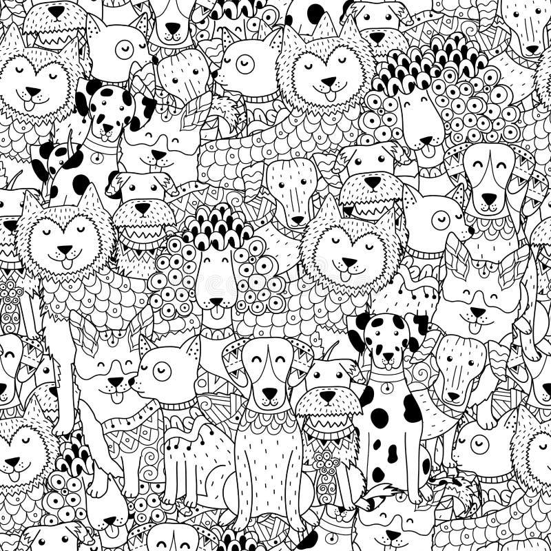 Grappig honden zwart-wit naadloos patroon vector illustratie