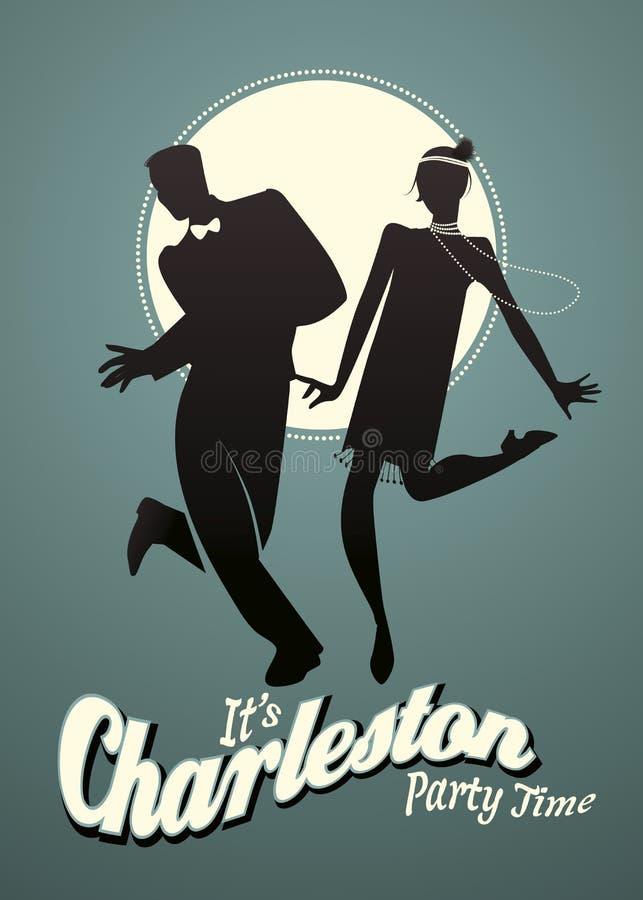 Grappig jong paar dansend Charleston royalty-vrije illustratie