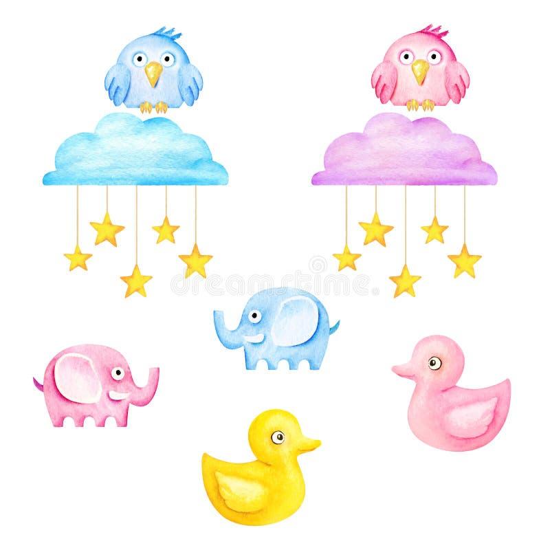 Grappig jonge geitjesspeelgoed - olifanten, uilen, eenden, wolken en sterren De illustratie van de waterverf stock illustratie