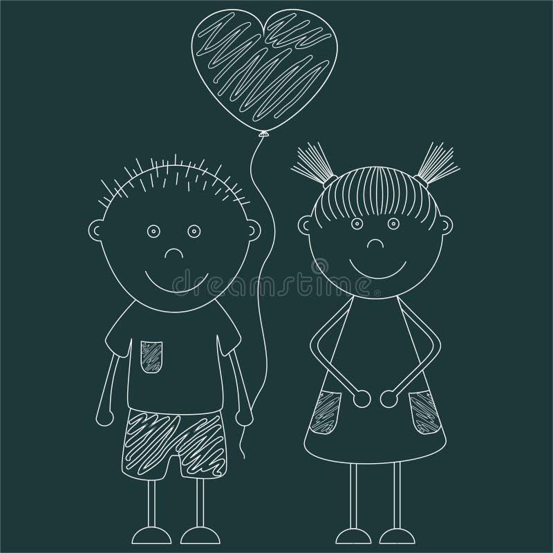 Grappig jongen en meisje met een ballon in de vorm van een hart Thema van St Valentine ` s Dag De kaart van de groet voor minnaar royalty-vrije illustratie