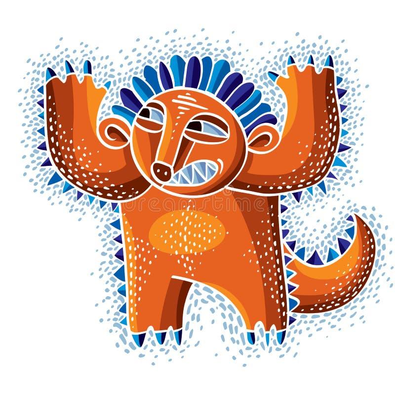 Grappig karakter, vector grappig oranje vreemd monster Emotionele ex stock illustratie