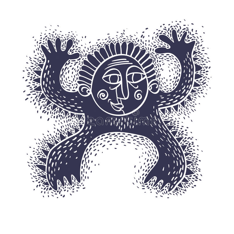 Grappig karakter, vector grappig vreemd monster Emotionele expressio vector illustratie