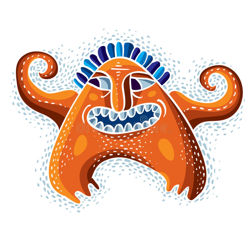 Grappig karakter, vector grappig vreemd monster Emotionele expressio royalty-vrije illustratie