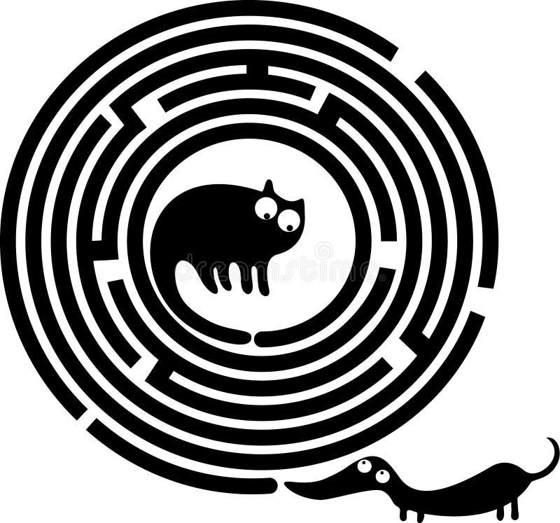 Grappig kat en hondlabyrint vector illustratie