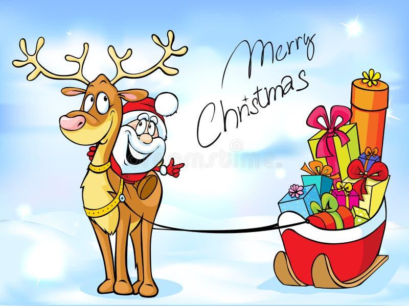 Grappig Kerstmisontwerp met Santa Claus royalty-vrije illustratie
