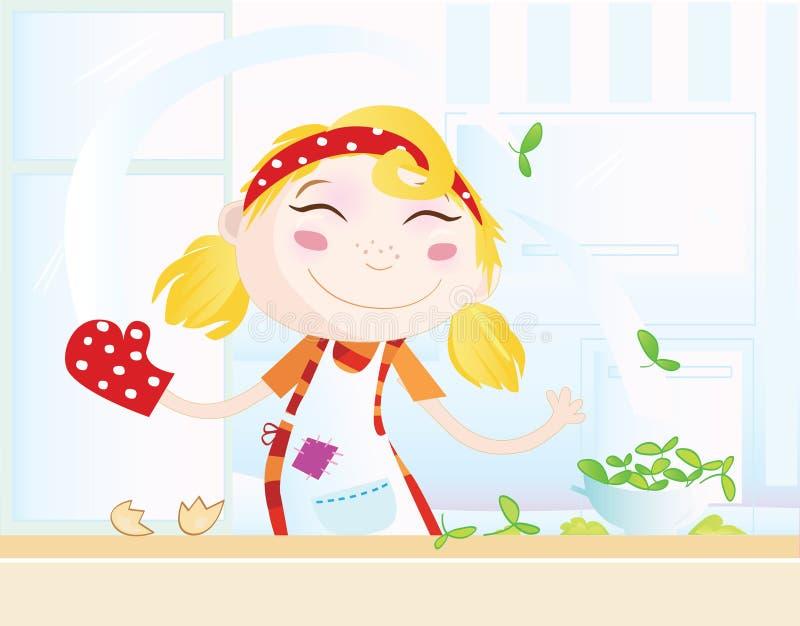 Grappig keukenmeisje royalty-vrije illustratie