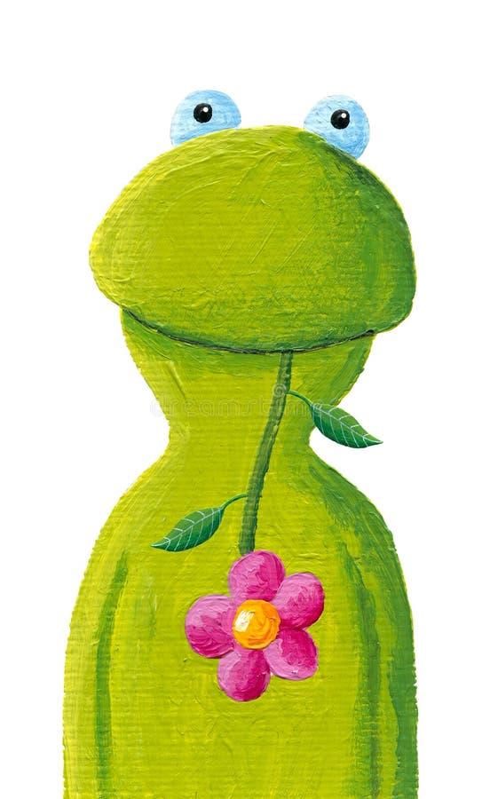 Grappig kikker met roze bloem royalty-vrije illustratie